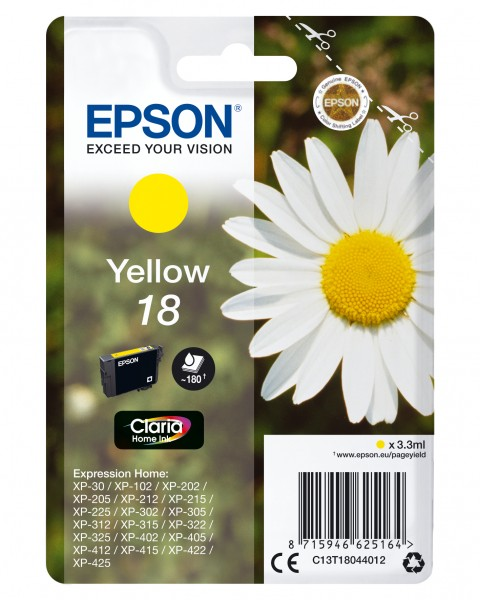 Epson T18 Yellow 3,3ml 180pages